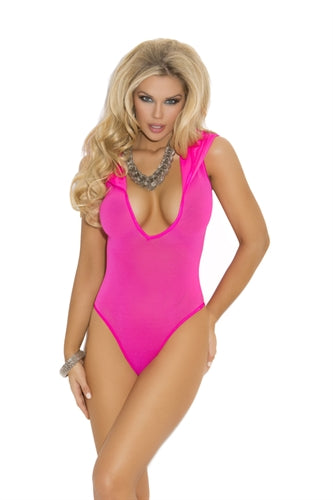 Opaque Deep v Hooded Teddy - One Size - Neon Pink EM-1576