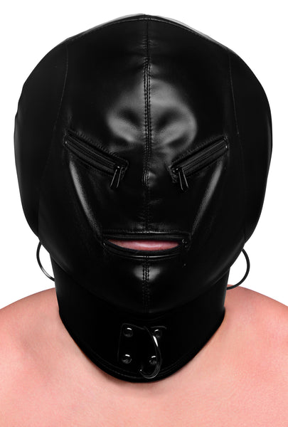 Bondage Hood with Posture Collar & Zippers STR-AF108