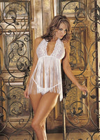 Stretch Lace & Fringe Babydoll - One Size -  White HOT-96110WHT