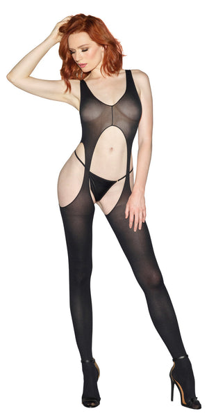 Suspender Bodystocking - Black - One Size DG-0031BLKOS