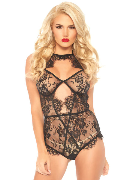 Eyelash Lace Keyhole Halter - Black - Small LA-89241S
