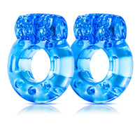Stay Hard Vibrating Cock Rings - 2 Pack - Blue BL-30402