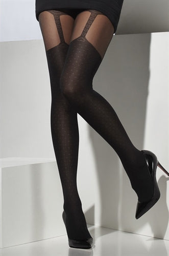 Opaque Suspender Print Tights - Black FV-24540