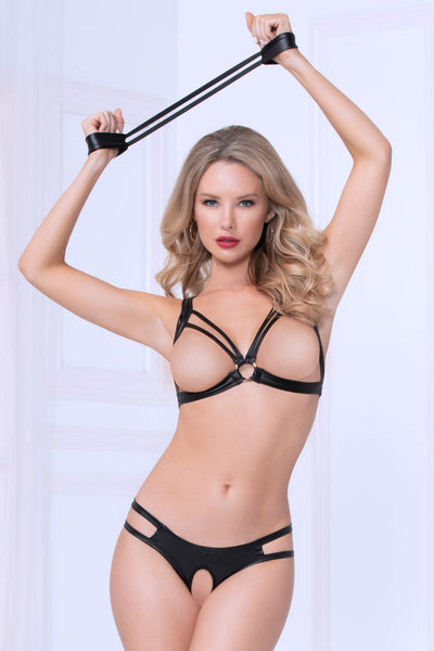 Three Piece Bra Set With Handcuffs - One Size - Black STM-10998P