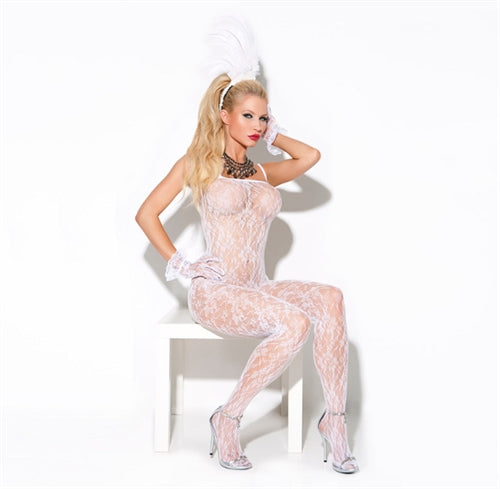 Lace Body Stocking - One Size - White EM-8596