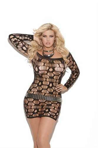Off the Shoulder Net Mini Dress  - Queen Size - Black EM-8674Q