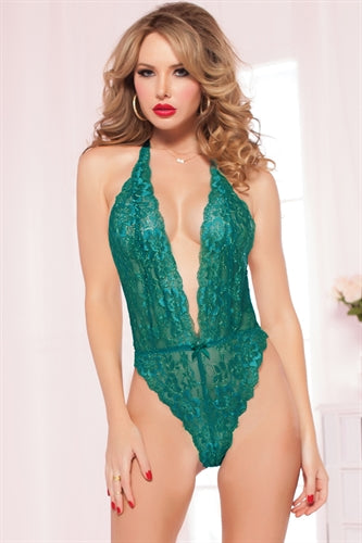 Floral Lace Teddy - One Size  - Emerald STM-9945PEME