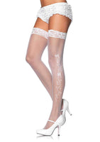 Sheer Lace Top Stockings With Woven Wedding Bells and Ribbon Side Detail - One Size - White LA-9019