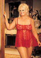 Stretch Lace, Sheer Net, & Lace Panels Babydoll - Queen Size - Red HOT-96120QRED