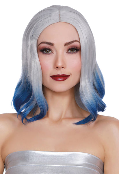 Shoulder Lenth Wig With Bangs and Bottom Curl Silver and Blue DG-11687MLT