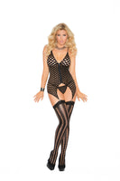 Camisette G-String and Stockings - Queen Size - Black EM-1471Q