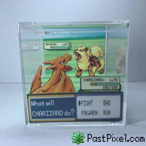 Pokemon Art Charizard vs Arcanine Cube pastpixel