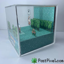 Load image into Gallery viewer, Pokemon Art Emerald Mew Cube pastpixel Diorama Cube