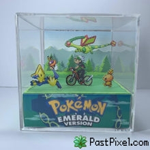 Load image into Gallery viewer, Pokemon Art Emerald Opening Scene Cube pastpixel Diorama Cube