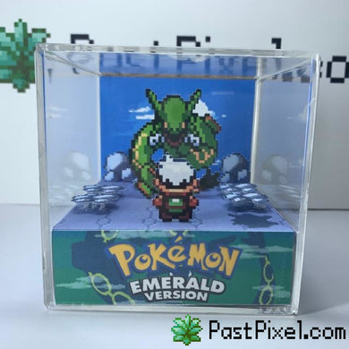 Pokemon Art Emerald - Sky Tower - Rayquaza pastpixel Diorama Cube
