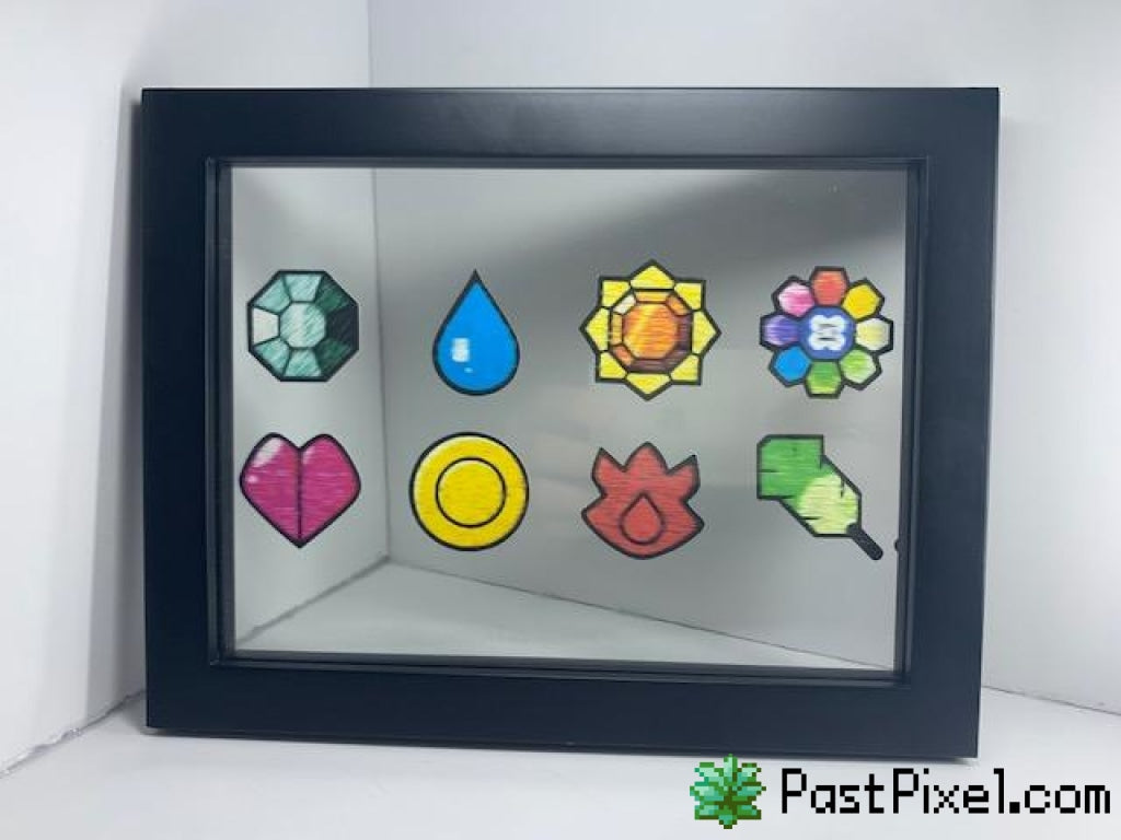 Pokemon Art FireRed LeafGreen Gym Badges Glass Frame pastpixel Picture Frame