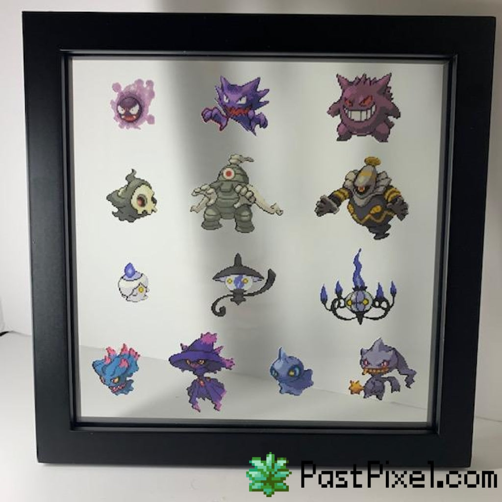 Pokemon Art Ghostly Glass Frame pastpixel