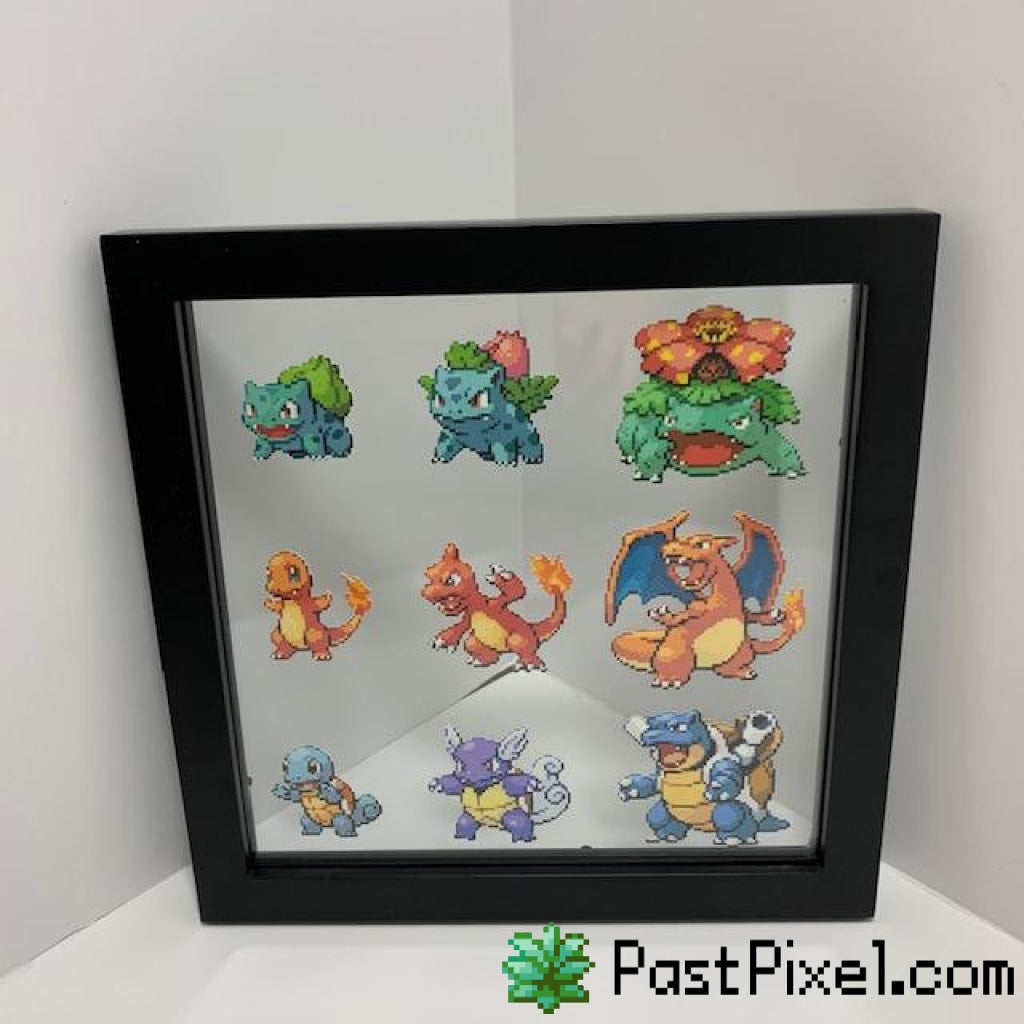 Pokemon Art Starting Pokemon Evolution Glass Frame pastpixel Picture Frame