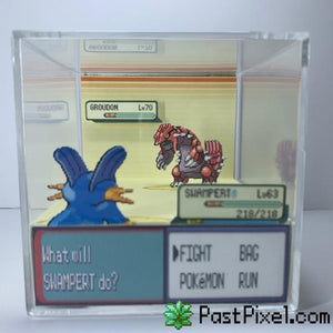 Pokemon Art Swampert vs Groudon Cube pastpixel