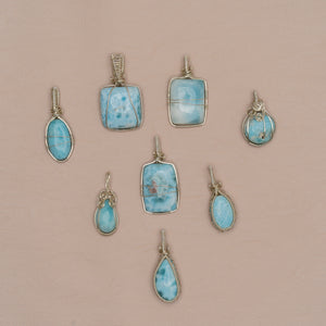 Larimar Necklace - Small Stone