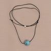 Larimar Black Cord Necklace - Small Stone