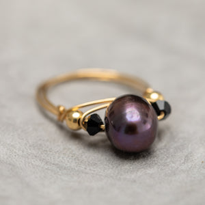 Gold Wire Pearl Ring - Bronze