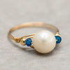 Gold Wire Pearl Ring - White