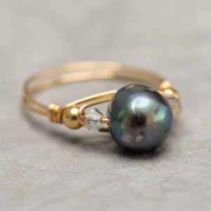 Gold Wire Pearl Ring - Dusk