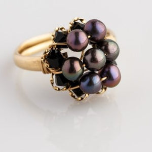 Lotus Flower Ring - Dusk Pearls