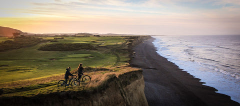 e-bikes on cliff at coast