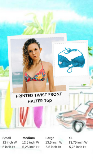 Printed Twist Front Halter Top