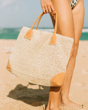Paper-Rope Leather-Handle Beach Bag