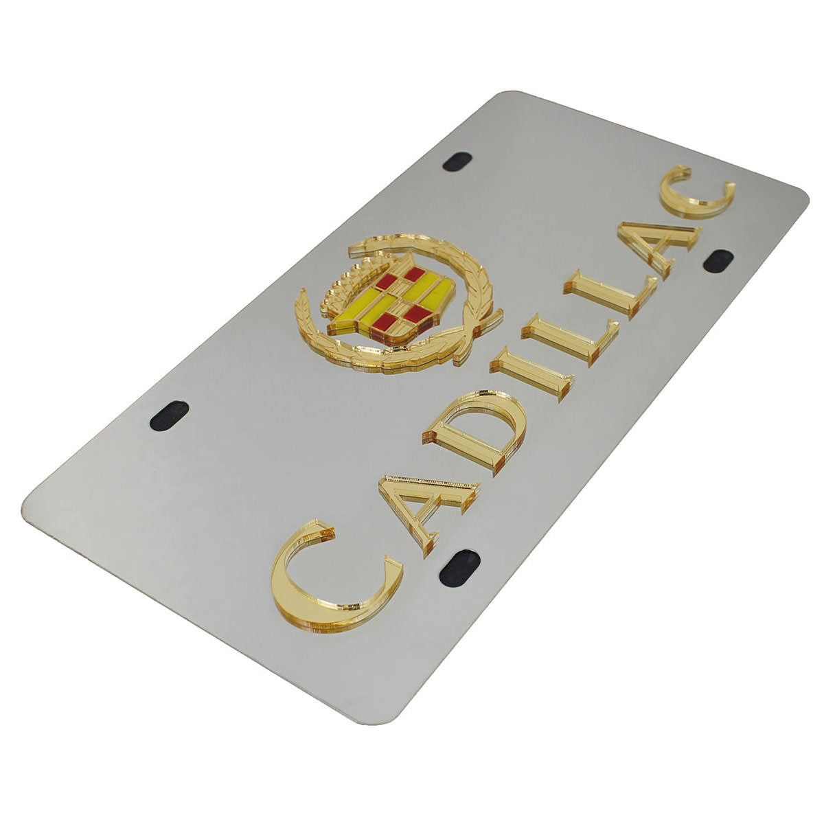 Cadillac Dual Logo License Plate (Gold on Chrome) - Custom Werks