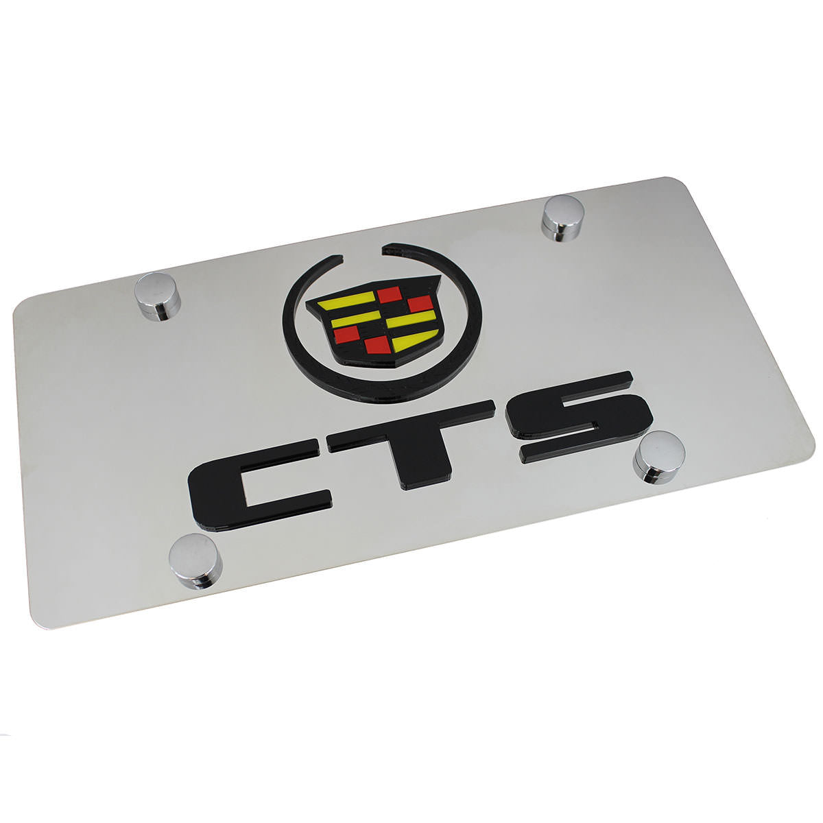 Cadillac Dual Logo CTS License Plate (Black on Chrome) - Custom Werks