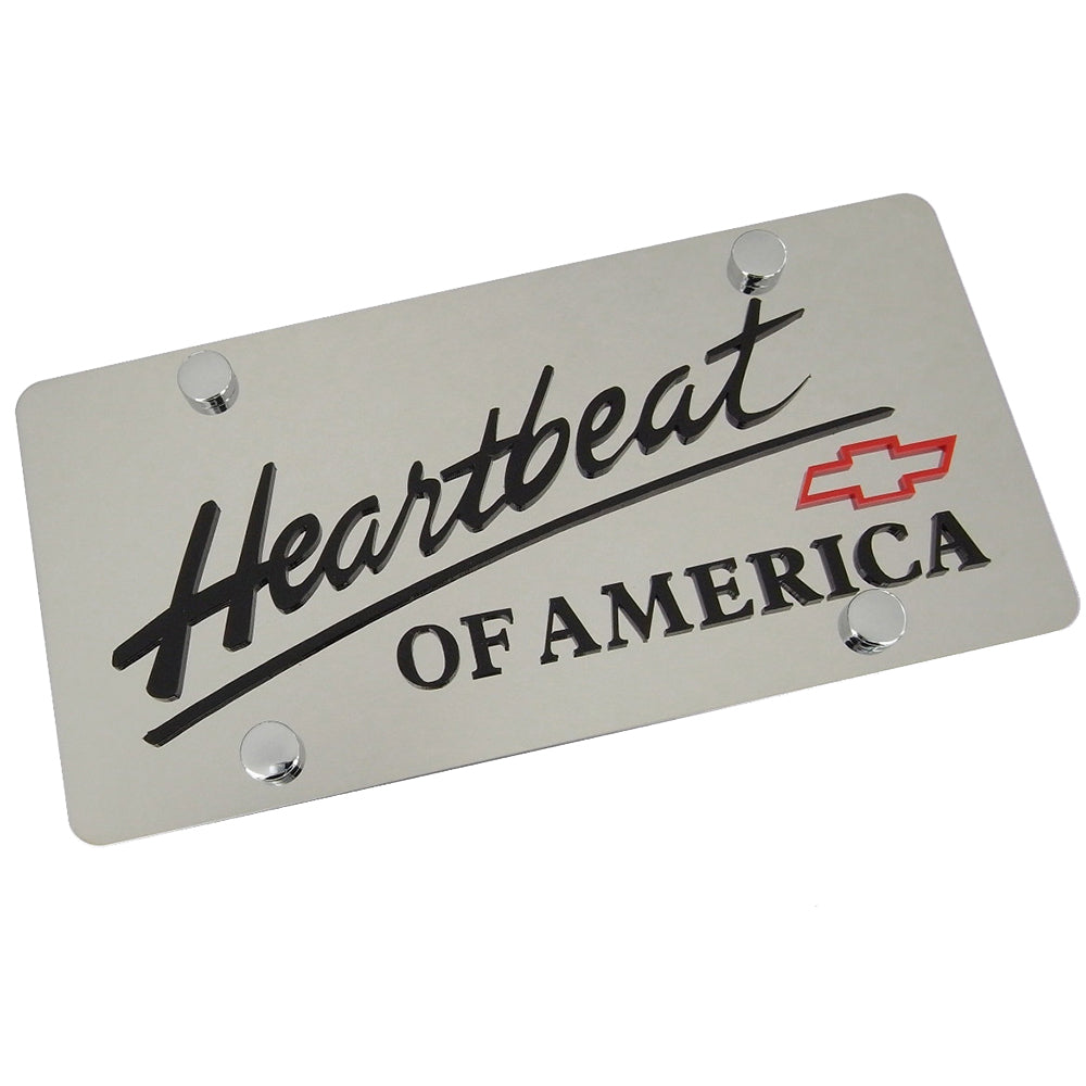 Chevy Heartbeat Of America Words With Bowtie Dual Logo License Plate (Red on Chrome)