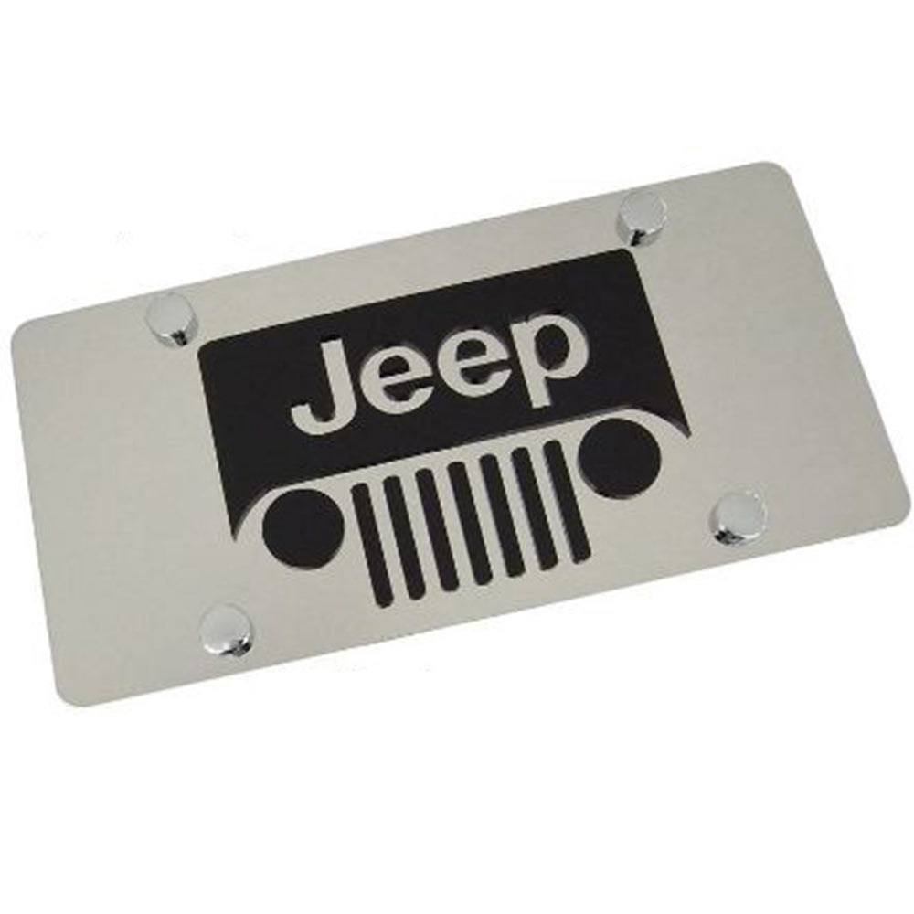 Jeep Grill Logo License Plate (Chrome)
