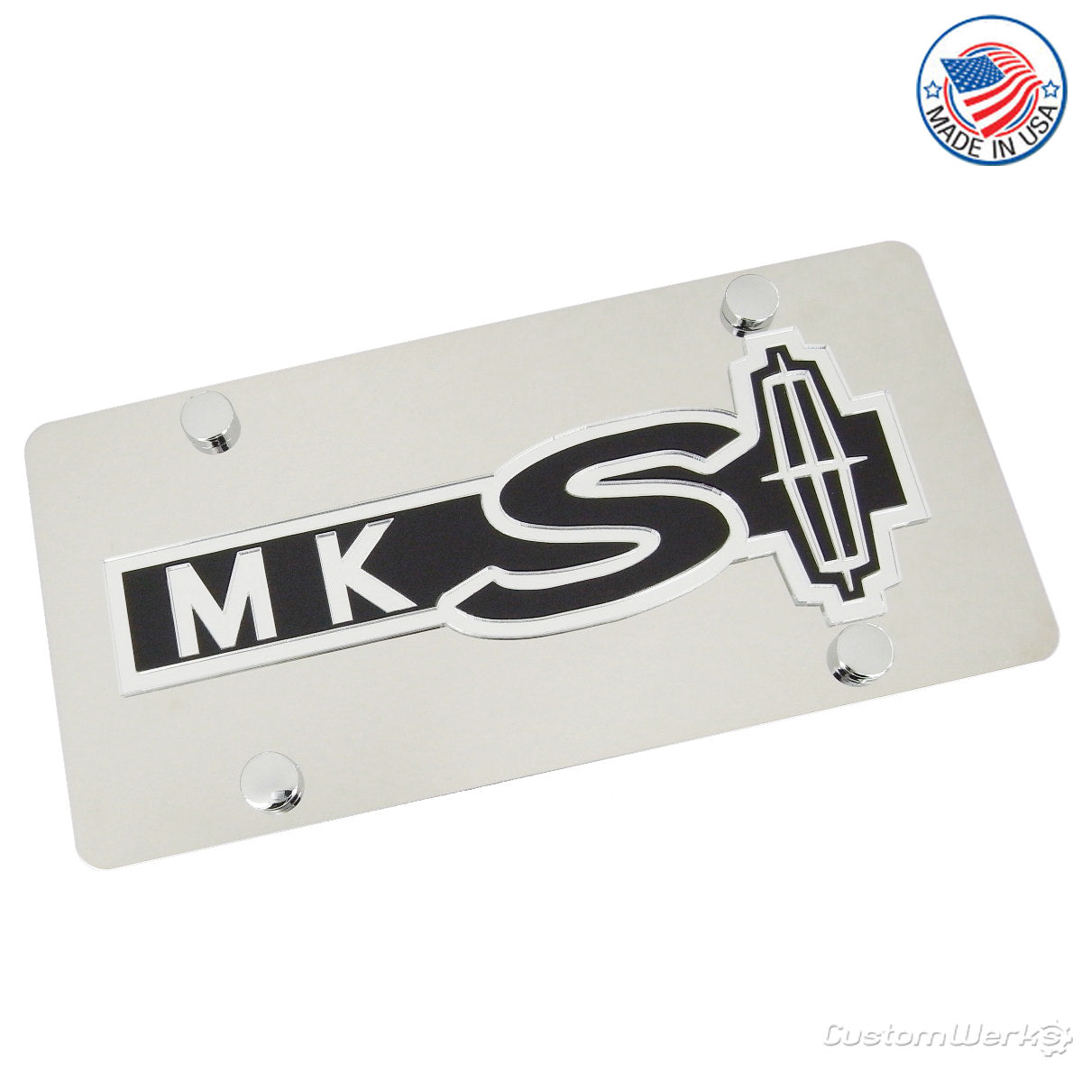 Lincoln Dual Logo MKS License Plate (Chrome) - Custom Werks