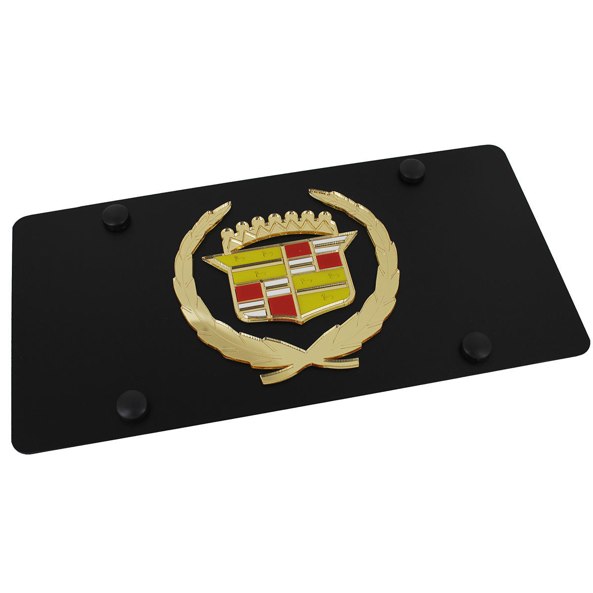Cadillac Classic Logo License Plate (Gold on Black) - Custom Werks