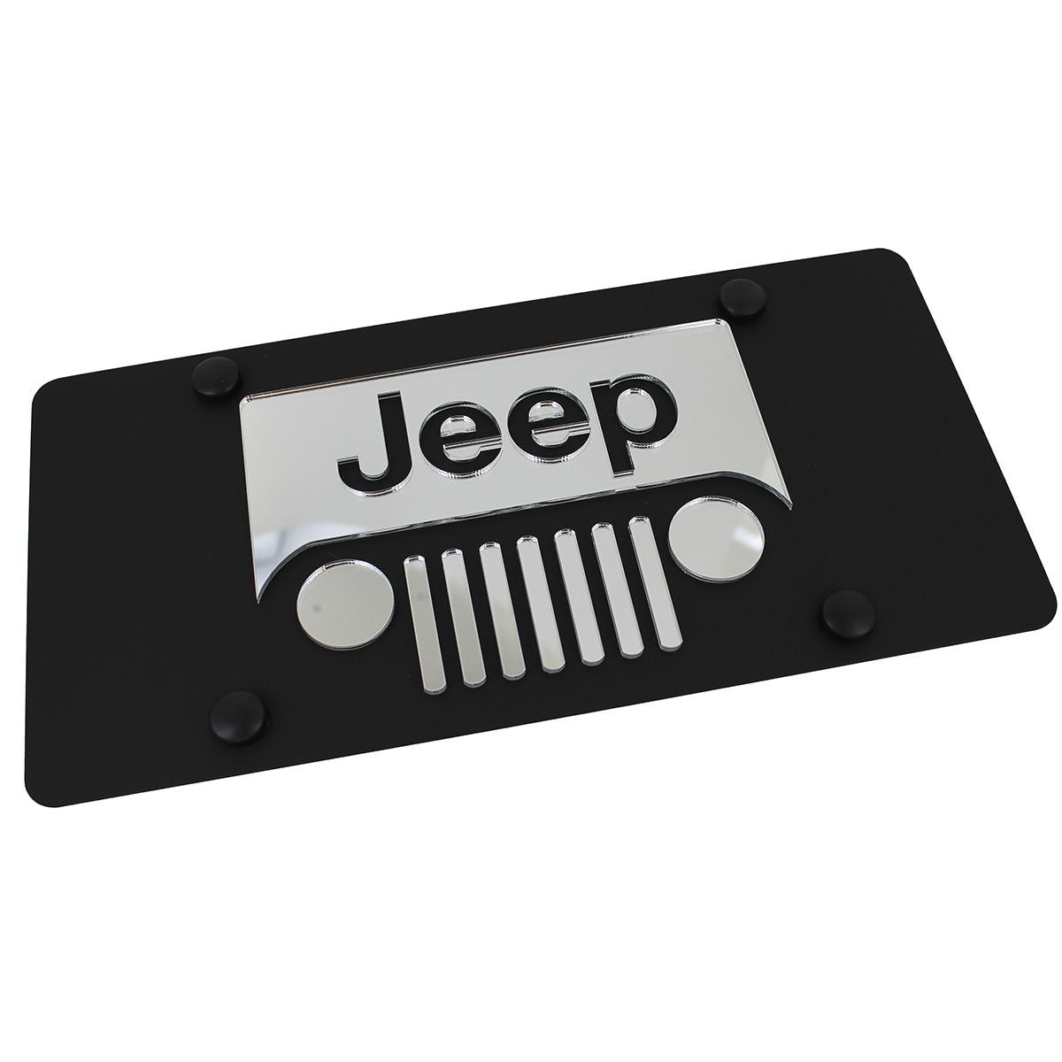 Jeep Grill Logo License Plate (Black) - Custom Werks