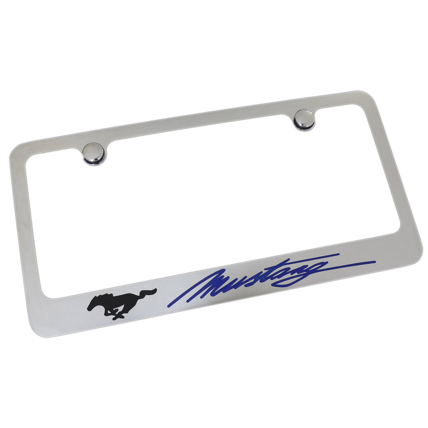 Ford Mustang Blue Script License Plate Frame (Chrome) - Custom Werks