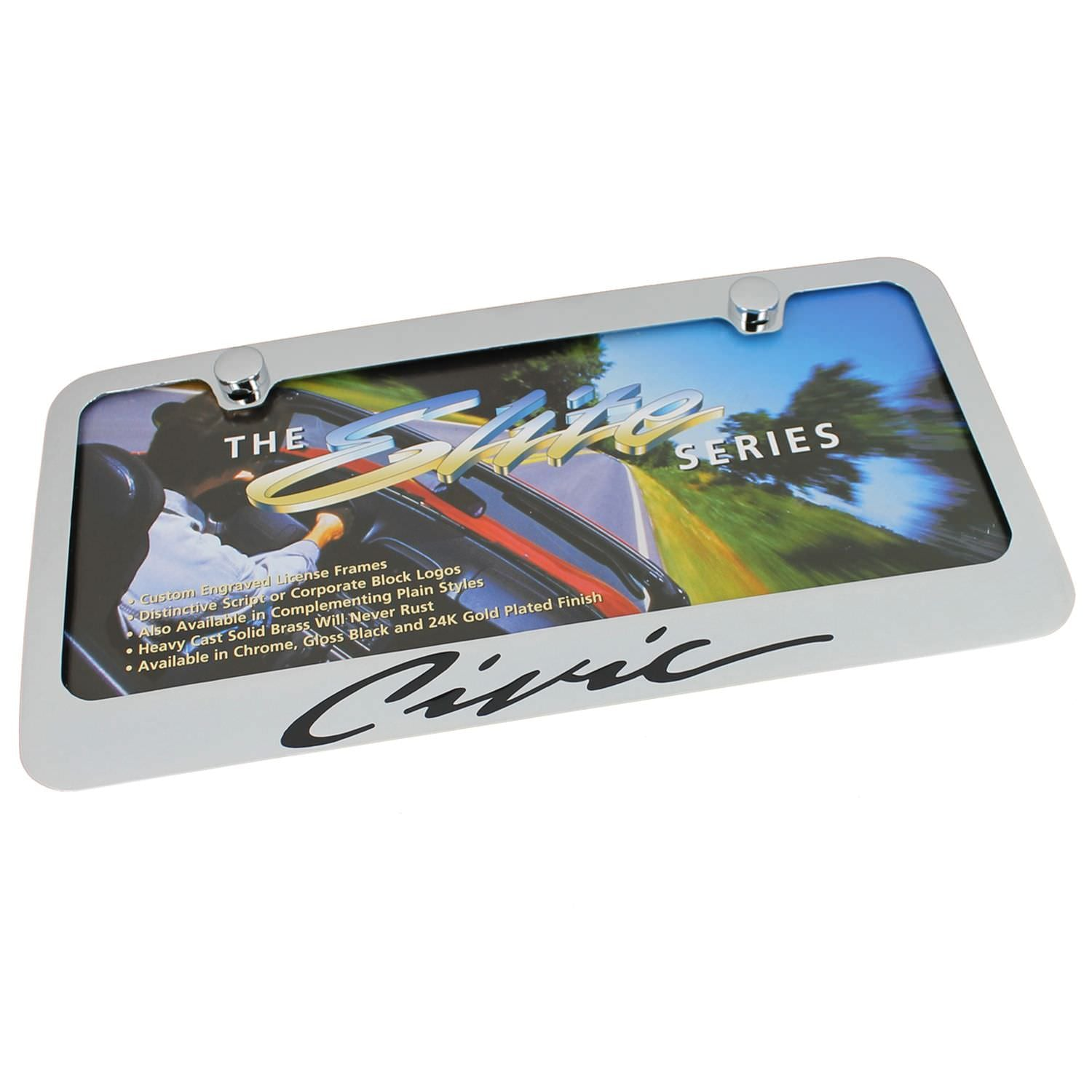 Honda Civic Script License Plate Frame (Chrome) - Custom Werks