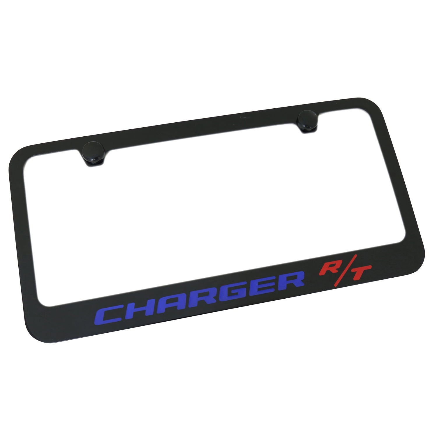 Dodge Charger RT Blue Name License Plate Frame (Black) - Custom Werks