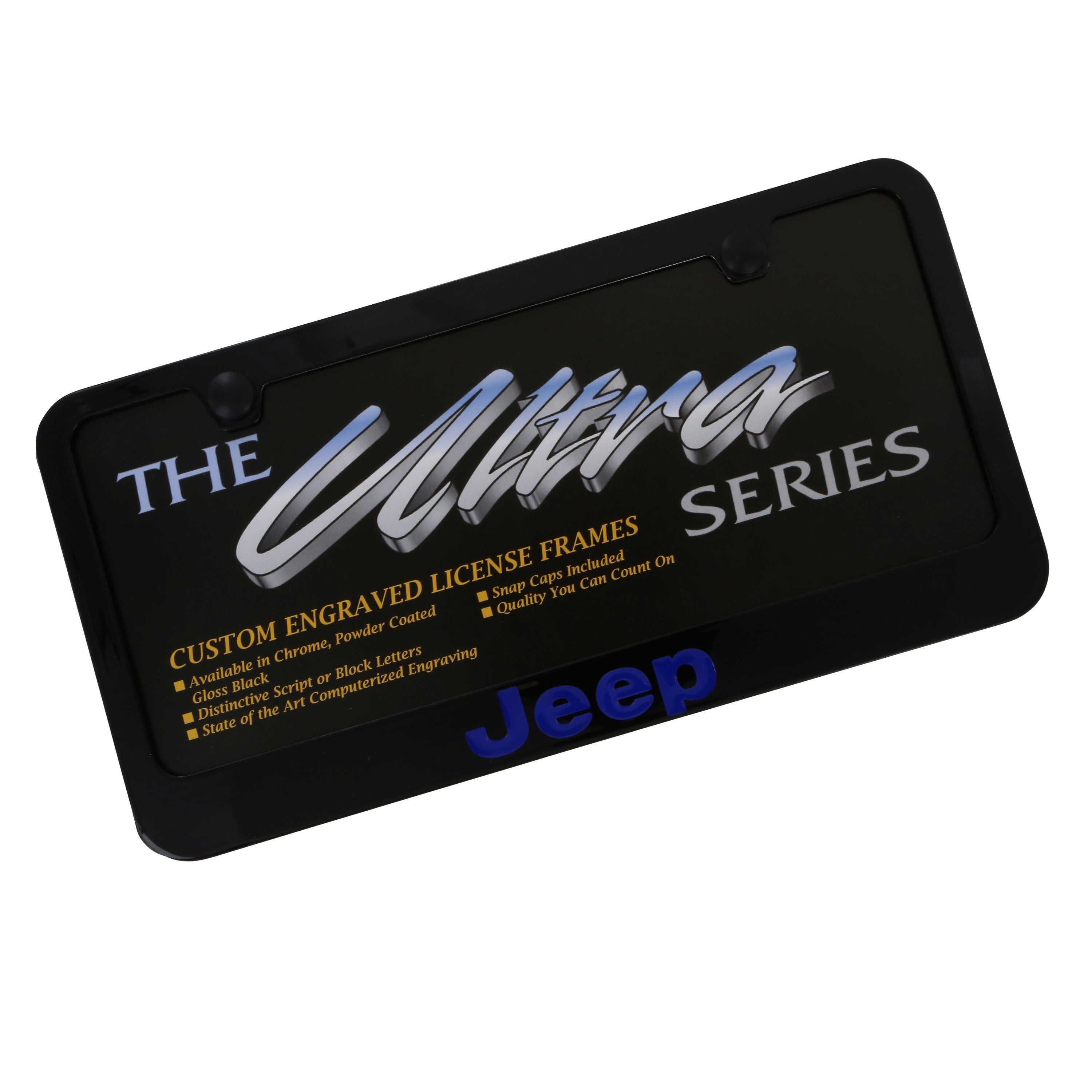 Jeep Blue Logo License Plate Frame (Black) - Custom Werks
