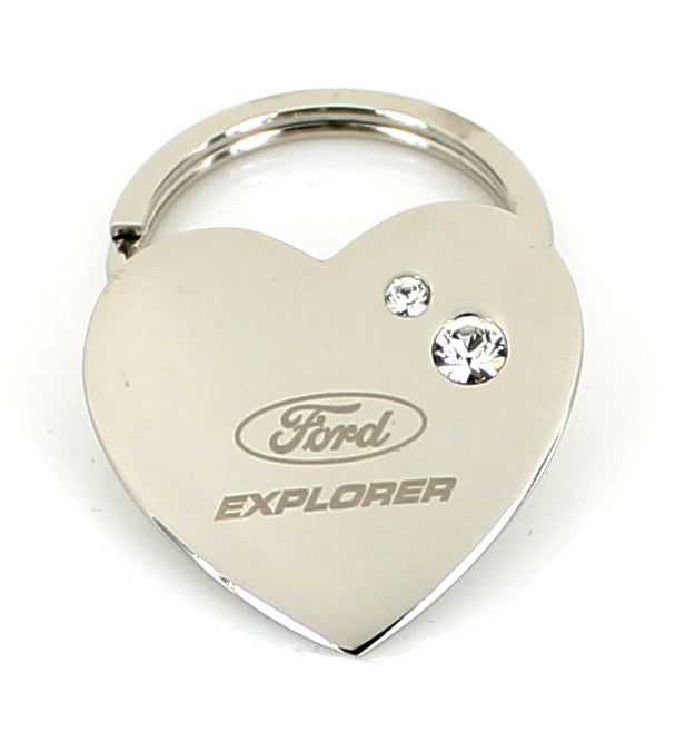 Ford Explorer Heart Shape Keychain (Chrome) - Custom Werks
