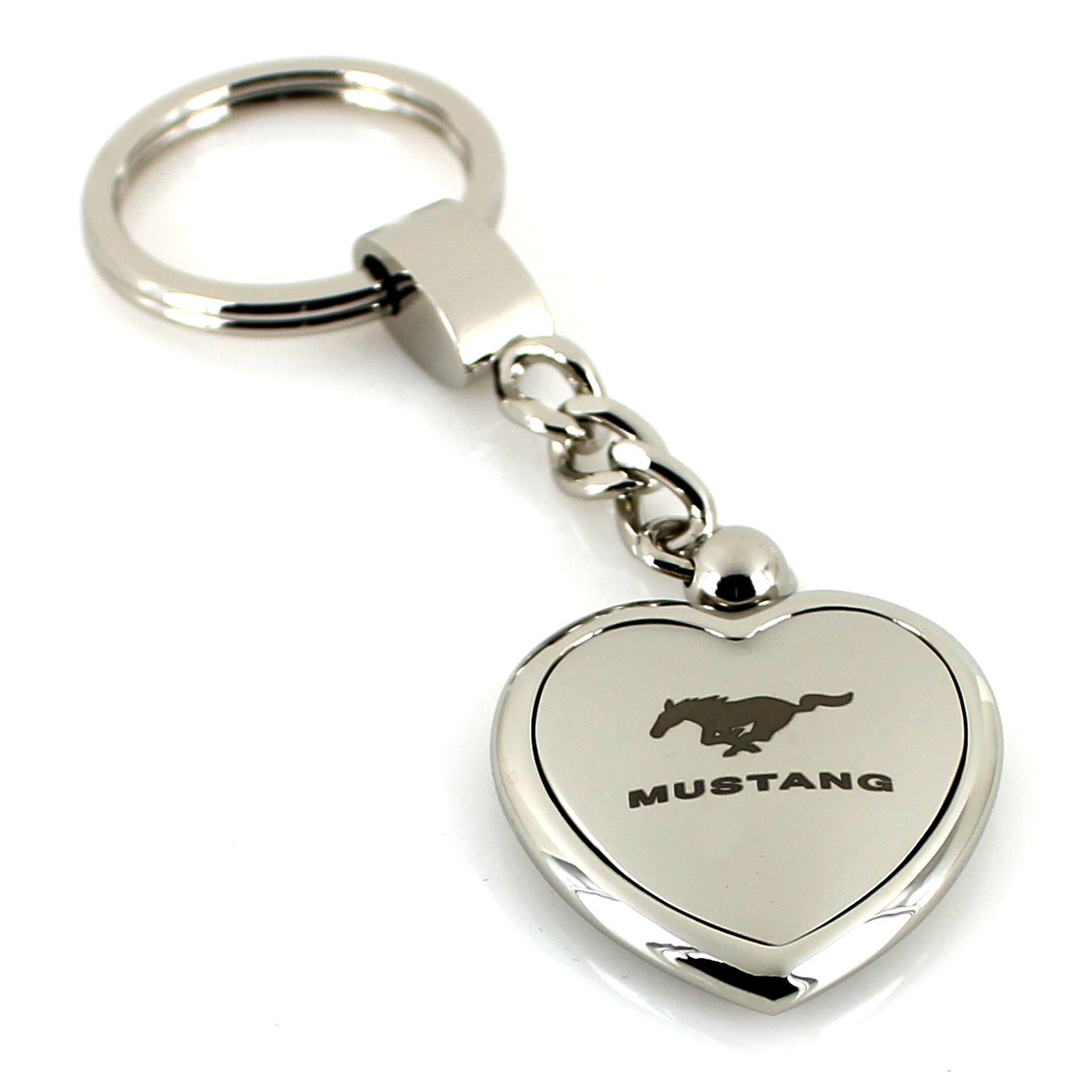 Ford Mustang Heart Shape Chain Keychain (Chrome) - Custom Werks