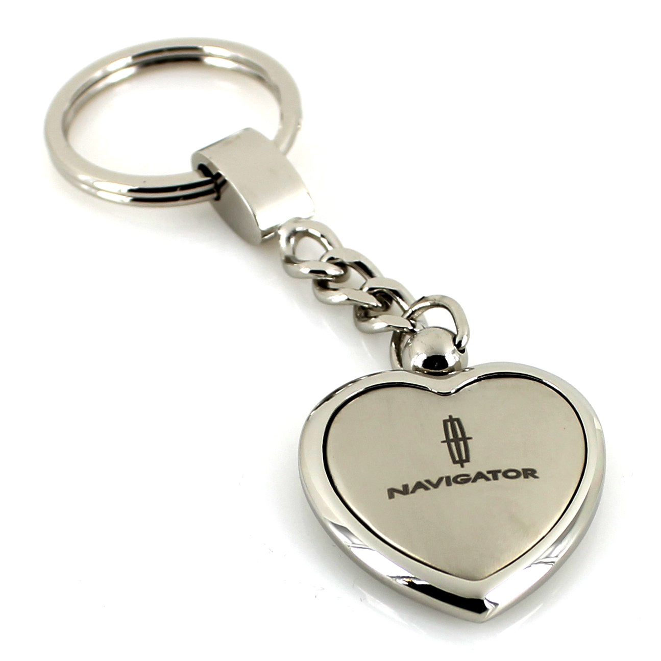Lincoln Navigator Heart Shape Chain Keychain (Chrome) - Custom Werks