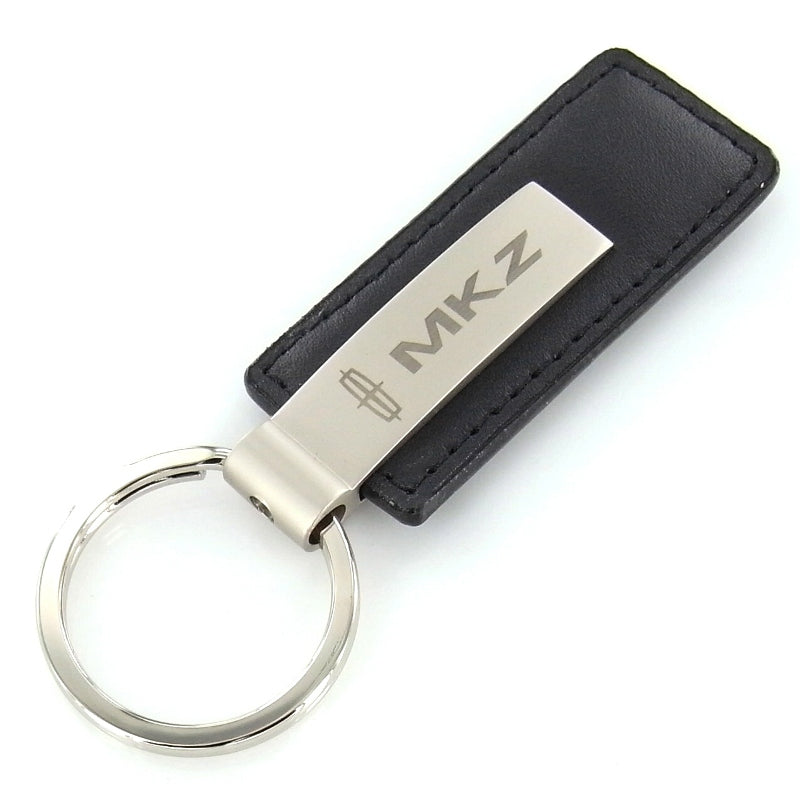 Lincoln MKZ Rectangular Leather Key Chain (Black) - Custom Werks