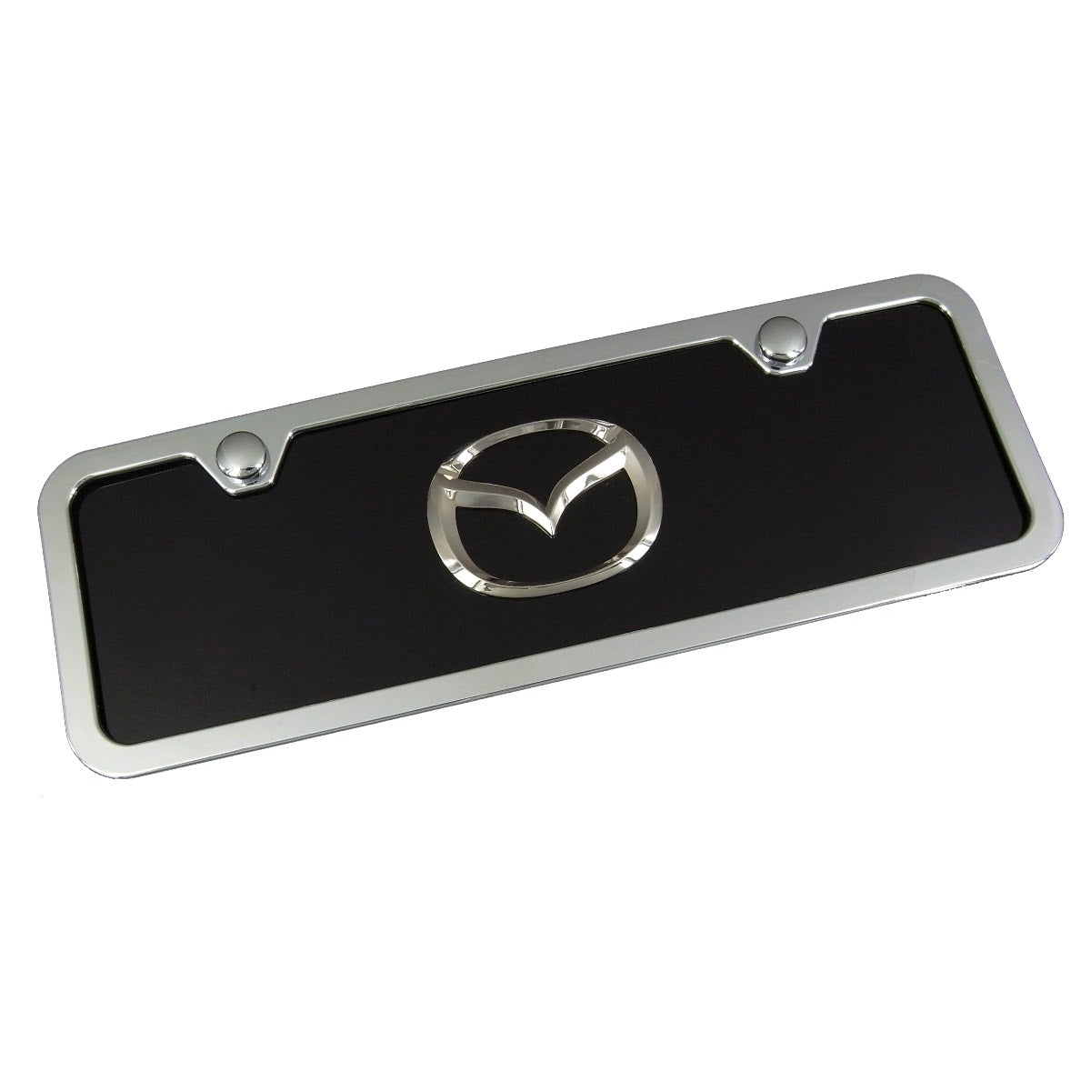 Mazda New Logo Mini License Plate Kit (Chrome on Black) - Custom Werks