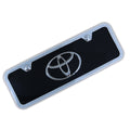 Toyota Chrome Logo Mini License Plate With Frame (Black)