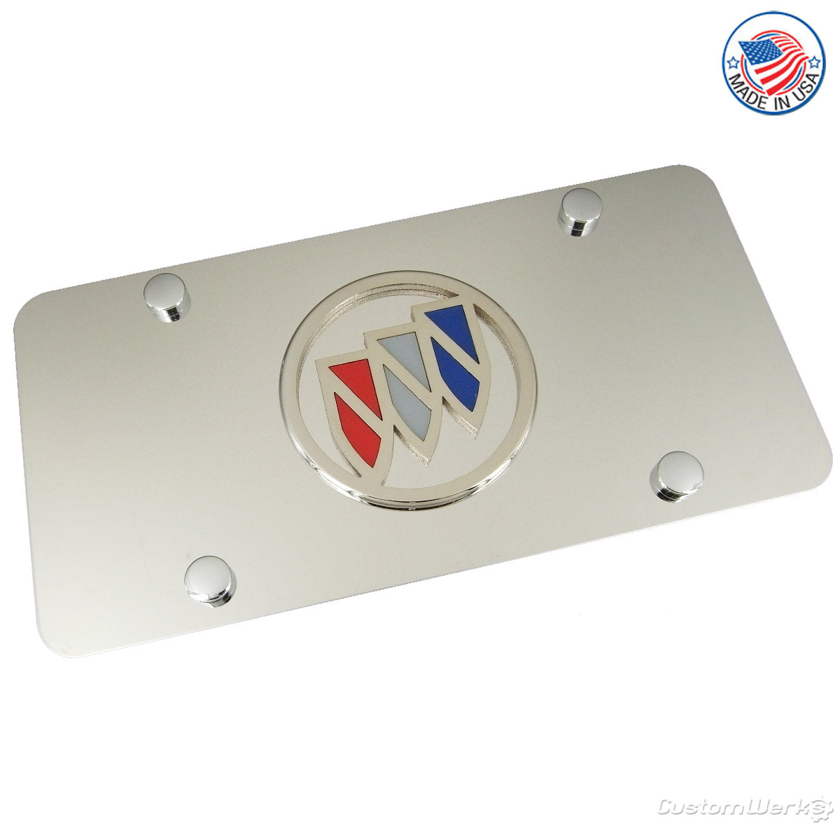 Buick Tri Color Logo License Plate (Chrome) - Custom Werks